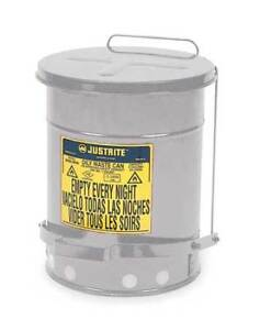 Oily Waste Can 10 Gal steel silver Justrite 09304