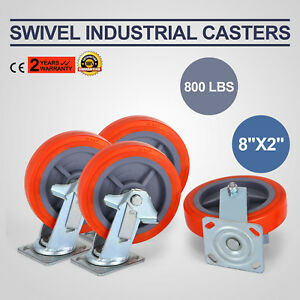 4 Pack 8 Swivel Casters Polyurethane Wheel Furniture Commercial Heavy Duty