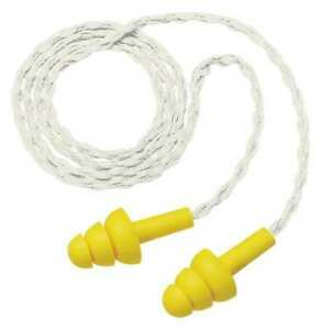 Corded Ear Plugs 25db Rated Disposable Flanged Shape Pk 100 3m 340 4036