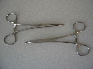 Two Miltex 7 38 Curved Kelly Clamp Hemostat Forceps 5 1 2