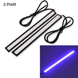 6pc Blue Car Cob Led Light Self Adhesive High Power Drl Fog Driving Lamp Strips