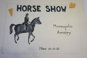Minneapolis Armory Hand Painted Horse Show Advertisement Art Instruction School