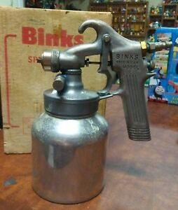 Vintage Binks Spray Gun Model 35 Touch up Paint Sprayer Made In Usa Box Manual