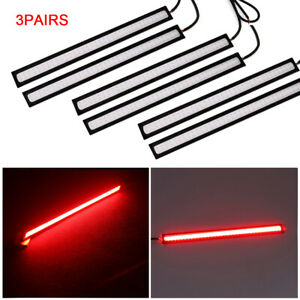 3pairs 6w 12v Red Car Cob Led Lights Drl Signal Lamp Fog Driving Strip Universal