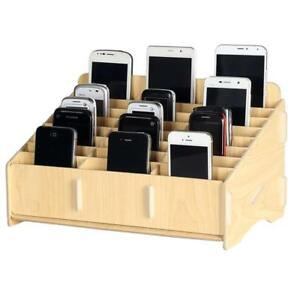 Loghot Wooden 24 Storage Compartments Multifunctional Storage Box For Cell Desk