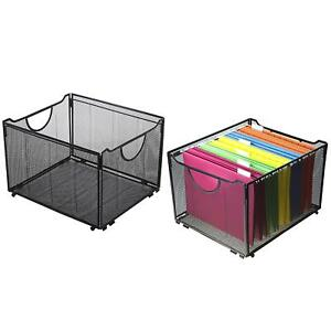 Set Of 2 Modern Black Metal Mesh Foldable Office File Folder Organizer Rack