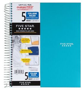 Five Star Spiral Notebook 5 Subject College Ruled Paper 200 Sheets 11 X
