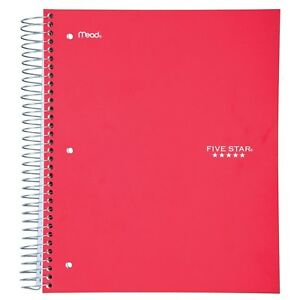 Five Star Spiral Notebook 5 Subject Wide Ruled Paper 200 Sheets 10 1 2 X