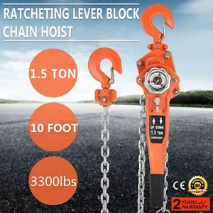 1 1 2ton 10ft Ratcheting Lever Block Chain Hoist Come Along Puller Pulley Pop