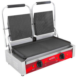 Avantco P84 Double Commercial Panini Sandwich Grill Grooved Plates