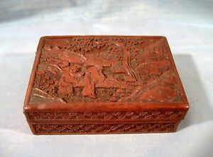 Antique Chinese Lacquer Cinnabar Box Carved Monks Landscape