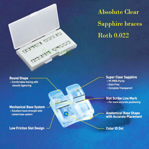 1 Absolute Clear Sapphire Ceramic Orthodontic Brackets Braces Roth 022 345 Hook