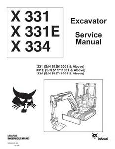 New Bobcat X 331 E X 334 Excavator Updated 1998 Edition Repair Service Manual