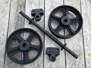 Antique Industrial Rr Factory Cart Vtg Coffee Table Cast Iron Wheel Bracket Set