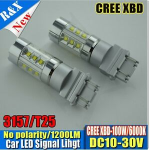 2x New White 3157 Brake Tail Stop Cree 100w Led Bulbs Canbus T25 3057 3457 4157