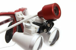Dental Surgical Binocular Loupes 3 5x 420mm With Led Head Lamp Light Red Usa
