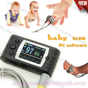 Infant Pediatric baby Use hand held Fingertip Pulse Oximeter Spo2 Monitor pc Sw
