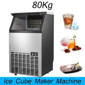 80kg 176lbs Commercial Ice Cube Maker Machines Freezers Drink Bar Undercounter