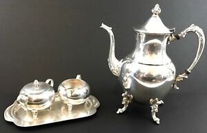 Silver On Copper Tea Coffee Pot With Cream And Sugar Set