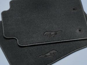 Genuine Ford Mustang Floor Mats Carpeted Black 2 piece Set W black Pony
