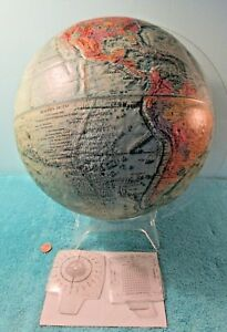 1973 Readers Digest 12 World Globe Land Sea Relief Stand 2 Measuring Tools