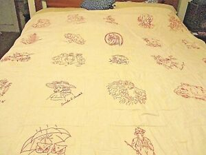 Antique Redwork Summer Quilt Coverlet Folk Art Signatures Initials Spectacular