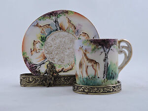 Small Demitasse Cup Saucer Hand Painted Ok Japan Transfer Print Embossed