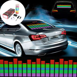 Music Beat Activated Car Stickers Equalizer Glow Blue Led Light Audio Voice