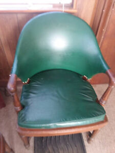 Antique Vintage Sikes Office Lounge Leather Wood Chairs Lot Of 8