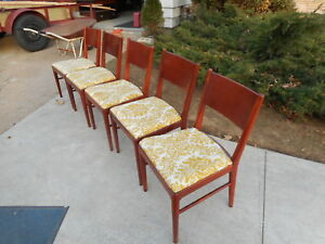 Modernist Era Wood Dining Chairs With Table Dining Set