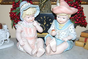 Beautiful Extra Large Boy Girl Hand Painted Bisque Porcelain Piano Baby Figurine