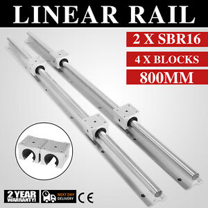 Sbr16 800mm 16mm Linear Slide Guide Shaft 2rail 4 Sbr16uu Bearing Block Cnc Set