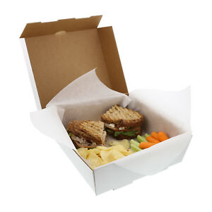 Medium White 8 7 8 X 8 7 8 X 2 7 8 Corrugated Dinner Take Out Box Case Of 50