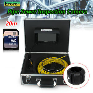 20m 7 Drain Pipe Pipeline Inspection Sewer Video Camera Dvr Recorder W sd Card
