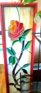Vintage Stained Glass Vertical Rose Window 50 15