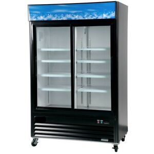 A c e Commercial Display Refrigerator 45 Cu ft Double Sliding Glass Door