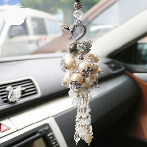 Swan Crystal Ornaments Car Rear View Mirror Hanging Hanger Pendant Decorations