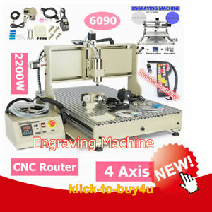 Usb 4 Axis 6090 2200w Cnc Router Carver Carving Machine And Mini 2417 Engraver