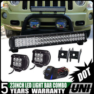 23inch Offroad Led Light Bar Combo 2x4 Work Pods Kit For Suv Atv 4wd