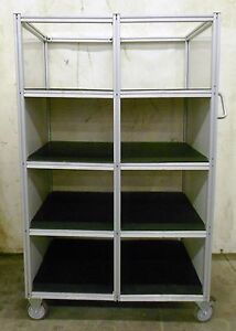 80 20 Industrial Material Handling Cart 8 Shelves 34 Depth 19 W 13 3 4 H