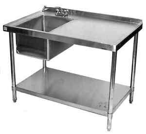 30x84 All Stainless Steel Kitchen Table With Prep Sink On Left