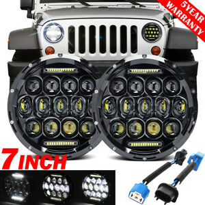 2x 7 Round Led Headlight Hi Lo Beam Drl Angel Eye For Jeep Wrangler Jk Lj Tj Cj