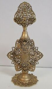Antique Vtg Detailed Goldtone Filigree Perfume Bottle W Glass Bottle