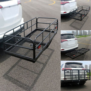 60 Steel Folding Hitch Mount Cargo Carrier Mounted Basket Luggage Rack Car Suv