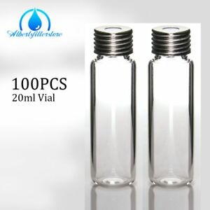 100x 20ml Clear Glass Headspace Hplc Vial Screw Cap Septa fit Ctc Autosampler