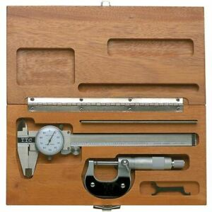 Ttc Mk 31 Machinist 3 in 1 Measuring Set W 6 dial Cal 0 1 mic 6 rule wood Case