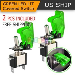 2pcs Green Cover Led Toggle Switch Racing Spst On Off 20a Atv 12v For Car Truck