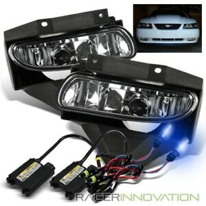 10000k Blue Hid For 99 04 Ford Mustang Clear Lens Fog Lights Driving Lamps
