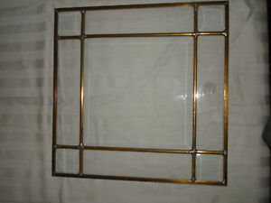 Antique Arts Crafts Art Deco Beveled Brass Lead Glass Transom Panel Window