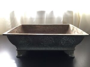 Antique Orential Bronze Rectangle Incense Burner With Double Dragon Ears